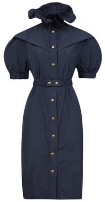 Symonds Pearmain - Ruffled-neck Puff-sleeved Taffeta Dress - Navy
