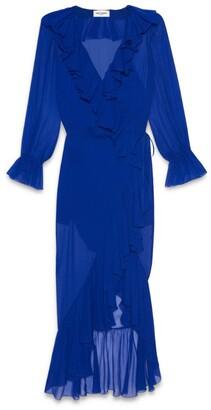 Saint Laurent Silk Ruffle-Trim Midi Dress