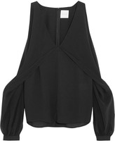 Dion Lee Cutout Silk-chiffon And Crepe De Chine Top - Black