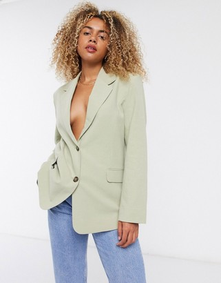 And other stories & linen single breasted blazer in dusty green