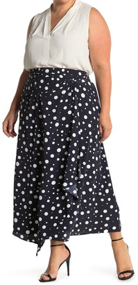 MelloDay D-Ring Faux Wrap Midi Skirt (Plus Size)
