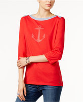 Tommy Hilfiger Esme Studded Anchor Top, Only at Macy's