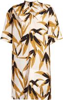 Marni Bamboo-print ruffled-neck dress