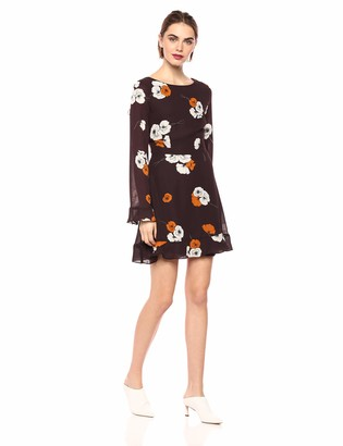 Cupcakes And Cashmere Women's Leena Fall Poppy Printed Dress w/Back Keyhole and Ruffle Aubergine 0