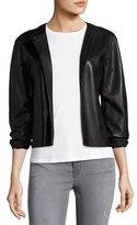 J Brand Cecilia Snap-Front Leather Jacket, Black