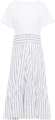 3.1 Phillip Lim Lace-up Striped Cotton-poplin And Jersey Midi Dress
