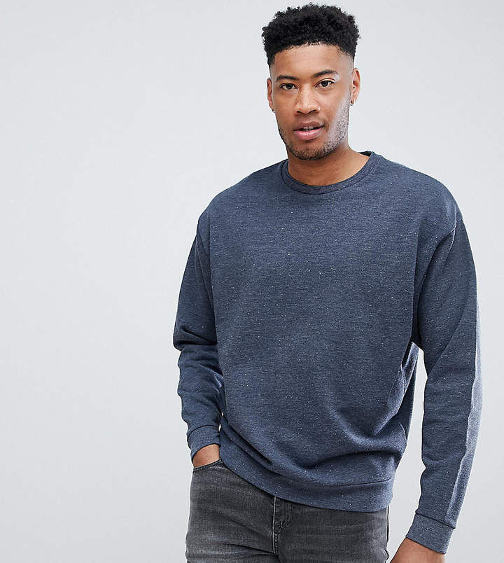 Asos Design DESIGN Tall oversized sweatshirt with double neck in navy interest fabric