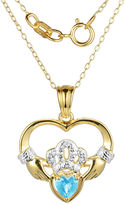 JCPenney FINE JEWELRY Heart-Shaped Genuine Blue Topaz and Diamond-Accent Claddagh Pendant Necklace