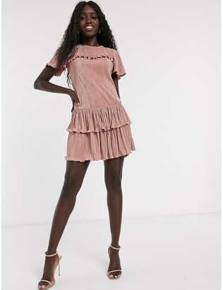 Miss Selfridge plisse mini dress with frills in pink