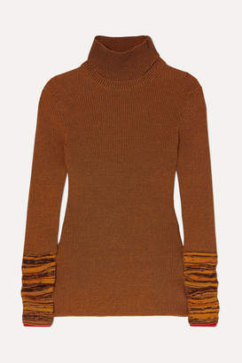 Victoria Beckham Cotton-blend Turtleneck Sweater - Brown