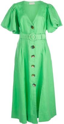 Nicholas Puff Sleeve Midi Dress