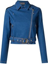 Amapô cropped denim biker jacket