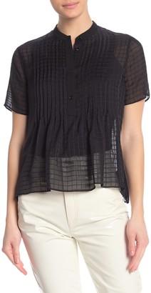 Rag & Bone Marcela Silk Windowpane Pintuck Shirt