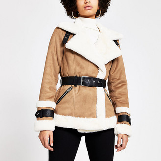 River Island Light brown belted shearling jacket