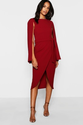 boohoo Tall Cape Tailored Belted Midi Dress