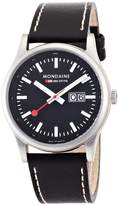 Mondaine Men's A669.30308.14SBB Night Vision Big Date Leather Band Watch