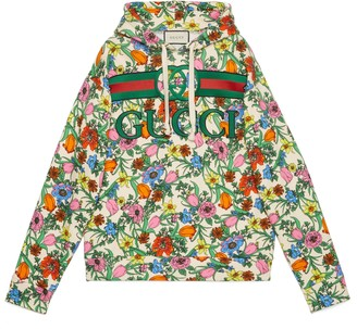 Gucci Pop Flora print hooded sweatshirt