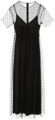 RED Valentino Embellished Tulle Flared Dress