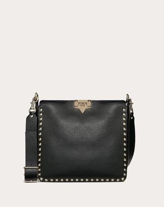 Valentino Garavani Small Rockstud Grainy Leather Hobo Bag Women Black OneSize