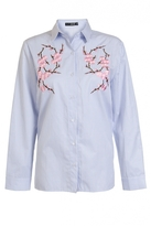 Quiz Blue Stripe Embroidered Flower Shirt