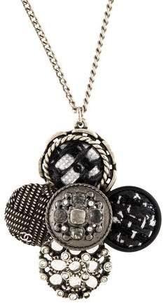 Chanel Tweed & Crystal Pendant Necklace