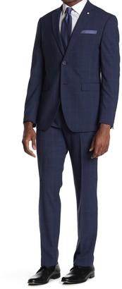 Original Penguin Blue Plaid Two Button Notch Lapel Wool Blend Suit