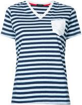 Loveless - striped v-neck T-shirt - women - Cotton - 34