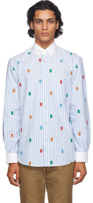 Burberry Blue and White TB Monogram Stripe Crossingham Shirt