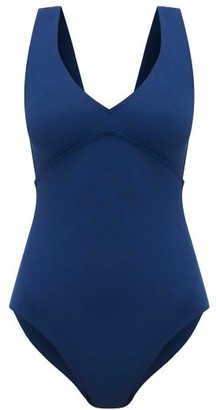 Eres Hold Up Backless V-neck One-piece Swimsuit - Womens - Blue