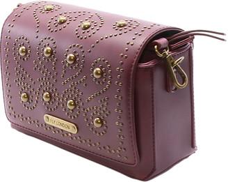 Fly London Women's Handbags 001 - Wine Stud-Accent Swirl Crossbody Bag