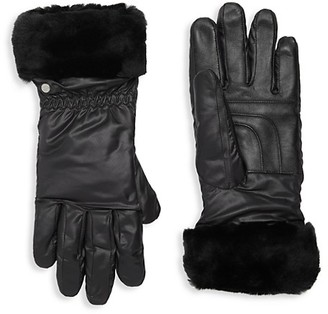 UGG Water-Resistant Nylon Shearling-Cuff Gloves