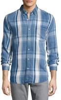 Joe's Jeans Washed Plaid Denim Shirt, Blue