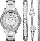 Liz Claiborne Womens Silver Tone 4-pc. Watch Boxed Set-Lc9046