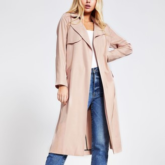 River Island Womens Light Pink tie belted duster jacket