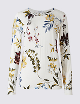 Classic Floral Print Round Neck Long Sleeve T-Shirt