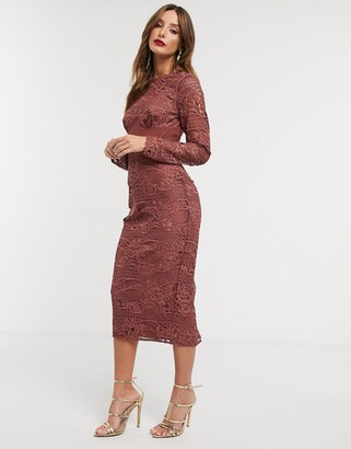 ASOS DESIGN corset waist lace midi dress
