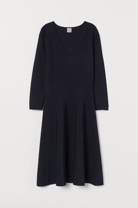 H&M Knit Viscose-blend Dress - Blue