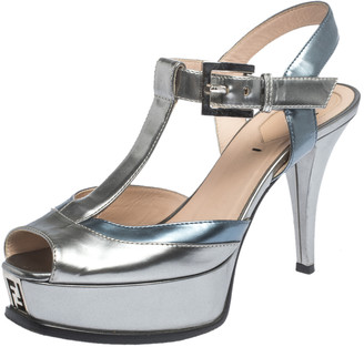 Fendi Metallic Silver/Blue Fendista Platform T-Bar Ankle Strap Sandals Size 37