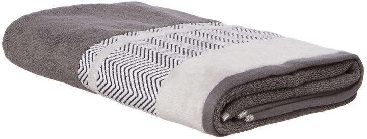 Le Mieux Living by Christiane Lemieux Chevron Border Bath Towel in Grey