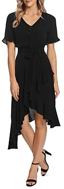 CeCe Ruffled Sleeve V-Neck Dress