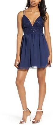 Speechless Lace & Chiffon Minidress