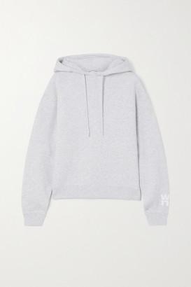Alexander Wang Printed Melange Cotton-blend Jersey Hoodie - Light gray