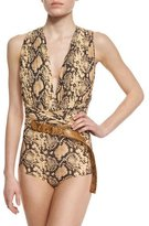Michael Kors Python-Print Belted One-Piece Swimsuit