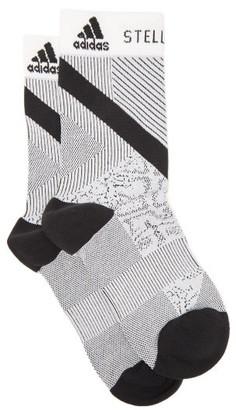 adidas by Stella McCartney Striped Logo-jacquard Socks - Womens - Black White
