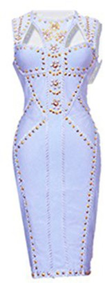 meilun Women Lady Rayon Sleeveless Rivet Beading Cut-Out Bodycon Bandage Dress Club Midi Tee Dress Light Blue