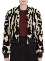 Carven Faux Fur Leopard-Print Bomber Jacket