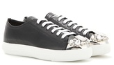 Miu Miu Embellished Patent Leather Sneakers