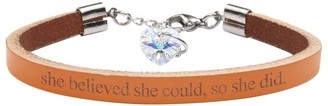 Genuine Leather Bracelet Made with Crystals From Swarovski by Pink Box She Believed She Could Orange