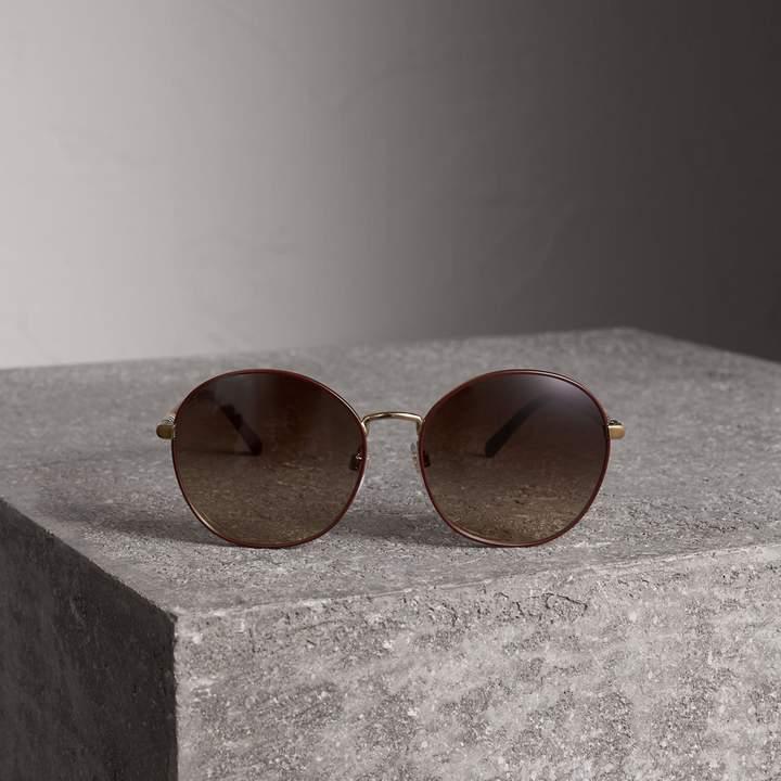 Burberry Check Detail Round Frame Sunglasses