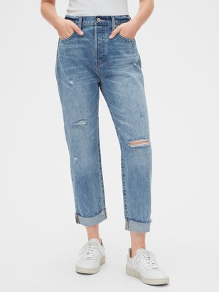 Gap Mid Rise Distressed Boyfriend Jeans